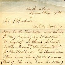 Image of Letter to Sutton Room Librarian