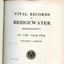 Image of F 74 .B7 B85 - Listing of births in Bridgewater from 1656 to 1850