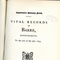 Image of F 74 .B8 B8 - Listing of births, marriages and deaths in Barre from 1749 to 1850