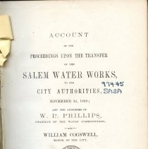 Image of Title page for Salem Water Works transfer - 1869