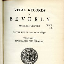 Image of Beverly Marriage and Death Records until 1849