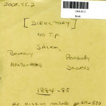Image of Directory for Salem, Davners, Peabody Beverly & Marblehead - 1884-1885