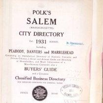 Image of 1931 Salem, Peabody Danvers & Marblehead Directory
