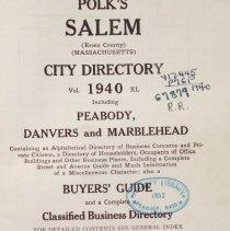 Image of 1940 Salem, Peabody, Danvers & Marblehead Directory