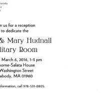 Image of Back of Clyde & Mary Hudnall Military Room postcard - 2016