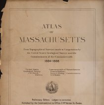Image of G1230 .M3 1890 - The atlas is a preliminary edition of the maps including the area of the Commonwealth of Massachusetts, which were prepared in 1884 by the United States Geological Survey in co-opreation with the Commissioners of the Commonwealth of Massachusetts. There are fifty-four maps, all on the scale of about one inch to one mile. The brown contour lines mean-tide level. They are at vertical intervals of twenty feet.  The maps were done for the U.S. Geological Survey and therefore omitted are all detached country houses, as well as indication of the difference between forests and cleared fields, which are recorded on the original manuscript.