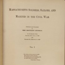 Image of Title page for MA Soldiers, Sailors and Marines in Civli War