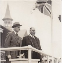 Image of Lord Derby in judges stand for 1930 Derby