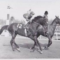 Image of High Binder on track with jockey  up