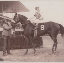 Image of Key to the Mint held by unhknown man with jockey up