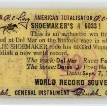 Image of Bill Shoemaker Collection - Ticket