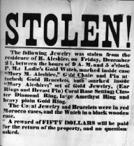 Image of Broadside announcing $50 reward for return of jewelry stolen from R. Aleshire and Mary Aleshire on Dec. 21. (Enslow papers) - 1979/01.0255