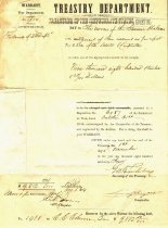 Image of Confederate States Treasury Dept. appropriation for final payment for construction of the CSS Alabama signed by secretary of the Confederate Treasury.  .(See 2001.0703.18)  - 2001.0703
