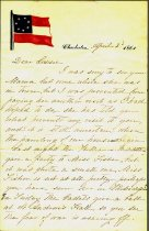 Image of Letter, C. H. Manigault to Lizzie.Discusses the coming of the Civil War, her domestic activities in Charleston, S.C.  On rare Confederate letterhead, Apr. 1861. - 2001.0703