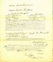 Image of Enlistment form for Joseph H. Hammill for three years at Castle Pinckney, South Carolina.  - 2001.0703