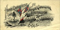 "Image of Letterhead ""Headquarters 1st North Carolina Battalion Sharp Shooters, 2nd Corps, A.N.V., C.S.A.""printed by A. Hoen & Co., Richmond Va, 1863-1866. - 2001.0703"