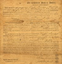 """Image of This certificate exempts Richard Scruggs of North Carolina from serving in the Confederate Army.  His qualification was that he was an """"agriculturalist,"""" July 1864.   - 2001.0703"""