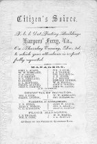 "Image of Notice of a ""Citizen's Soiree"" dance at the Harper's Ferry, Va. (now W.Va.) factory buildings.  States Thursday, December 3 (no year)  Assumed to be 1857.   - 2001.0703"