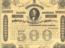 Image of Coupon loan bond for $500. Seven $20 dollar coupons attached,