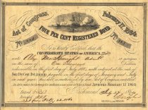Image of Registered $1000 Confederate bond, lithographed by George Dunn & Co. of Richmond.  Issued to Alex. McKnight.  Issued under Act of Congress Feb. 17, 1864. - 2001.0703