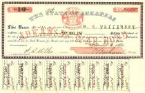 Image of Five Year $10.00 Arkansas war bond to recover expenses of supporting Confederate war effort. Payable to W. K. Patterson. Nine interest coupons attached, one missing. - 2001.0703