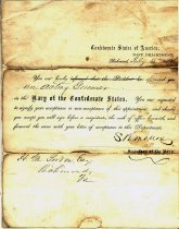 Image of Appointment  of H. M. Gordon as an acting gunner in the Confederate States Navy.  Signed by Stephen R. Mallory, Confederate Secretary of the Navy.  - 2001.0703
