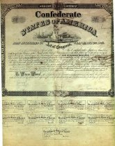 Image of Confederate 4 percent interest bond.  Authorized act of congress Mar. 25, 1863. Nine interest coupons.  Face amount $100.    - 2001.0703