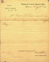 Image of Confederate States of America, Adjutant & Inspector General's Office, Special Orders No. 115, assigning Samuel H. Stout as Inspector of General Hospitals in General Braxton Braggs Army.  Signed by Jno. Withers, AAG, by command of the Secretary of War, May 1863.  - 2001.0703