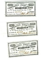 Image of 3 $40 interest coupons from $1000 Confederate Loan or bearer bond. From Bond No. 14899 - 2006.0703