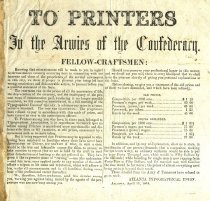 Image of Atlanta Typographical Union broadside informing printers that printing rates had to be raised. Discusses enormous rise in prices of all necessaries and deprecation of Confederate currency, Apr. 1864. . 
