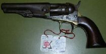 "Image of Colt 1862 Police model, .36 caliber, 5 shot percussion revolver. Stamping: ""Address Col Saml Colt New York US America""  on barrel Stamping: ""pat. Sept. 10 185?"" on cylinder Stamping: ""36 cal"" on brass frame - 2001.0703"