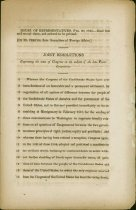 Image of  Confederate Government imprint: Joint resolution on subject of the late Peace Commission, Confederate House of Representatives, 20 Feb 1865.   - 2001.0703