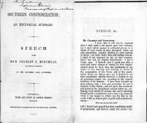 """Image of Printed speech of Charles S. Morehead at the Southern Club, Liverpool, England, 1862. (photocopy) Title: """"Southern Confederacy, an Historical Summary""""  - 2001.0703"""