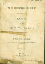 "Image of Printed letter from Charles P. Daly, LLd, to Ira Harris, US Senator titled ""Are the Southern Privateersmen Pirates,"" 1862. 