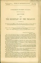 Image of Printed letter from the Secretary of the Treasury addressing Confederate property in Europe. Apr. 17, 1868. Printed by US House of Representatives as Ex. Doc 304.   - 2001.0703