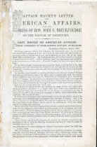 """Image of Printed letters: """"Captain Maury's letter on American Affairs,"""" and others by John C. Breckinridge, Ex-Gov. Lowe, George N. Sanders, John Letcher, Jefferson Davis, pub. 1862?   - 2001.0703"""
