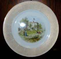 Image of Limited edition Lenox china presentation plate.  On front is Civil War period view of the White House of the Confederacy, flying First National Confederate flag.  - 2006.0703