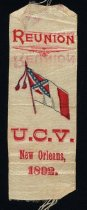 Image of United Confederate Veterans reunion of 1892 ribbon.  Reunion held in New Orleans.  - 2001.0703