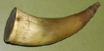 Image of Pre Civil War small pistol powder horn with wooden stoppers. - 2001.0703