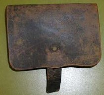 Image of Leather cartridge pouch, 3 compartments, 2 belt loops. Probably Confederate. - 2001.0703