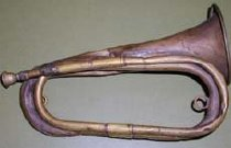 "Image of Brass cavalry bugle.  4"" bell, brass mouthpiece. - 2001.0703"