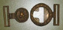 Image of 2-piece sword belt buckle, brass with eagle head Probably U.S. Army  - 2001.0703