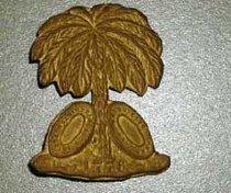 Image of South Carolina cap plate. (Confederate) South Carolina palmetto emblem.  - 2001.0703
