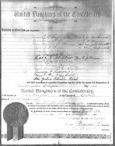 Image of Charter of Chapter 150, United Daughters of the Confederacy, Huntington, W.Va. Dated Nov. 3, 1897.  Copy of original  - 2001.0703