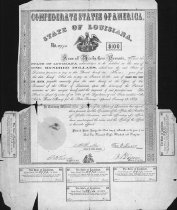 Image of $100 bond issued by State of Louisiana, 1862.  8 percent bond No. 2973.  Interest coupons on two sides and bottom. - 2001.0703