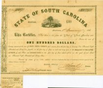 Image of $100 bond issued by State of South Carolina, 1861.  6 percent bond No. 3607.  One interest coupon on bottom. - 2001.0703