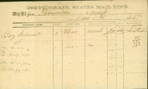 Image of 8 items: Transportation forms and receipts for the Alabama & Tennessee Rivers Railroad, the R&D Railroad, and the South Carolina Railroad, one for the Confederate States Mail Line, all 1863-1865  - 2001.0703