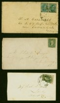 Image of 13 items: Confederate stamped envelopes, some with letter inside.  4 loose Confederate postage stamps.  - 2001.0703