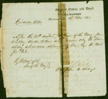 Image of Circular Order from the Office of orders and Detail of the C.S. Navy, dated 1864, giving allowance for mileage for officers.  - 2001.0703