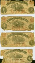 Image of Nine Virginia $1 Treasurery Notes, printed in 1862, printed by Hoyer and Ludwig, Richmond.